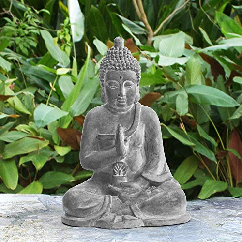Sunjoy Jane Decorative Buddha Garden Statue, Dark Gray