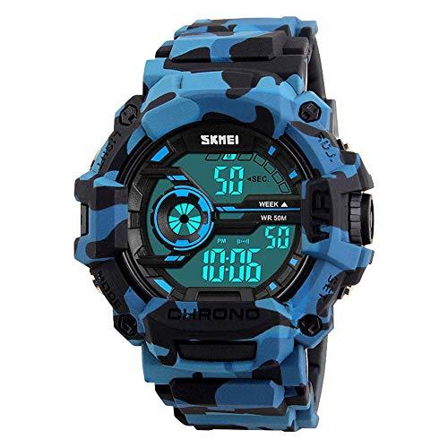 Reloj deportivo digital de camuflaje para niños, Aposon, pantalla LED, reloj de pulsera militar, impermeable, casual, luminoso, alarma de cronómetro, simple reloj militar