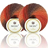 2 Skeins Rainbow Soft Yarn 100% Wool Gradient Multi Color Yarn for...