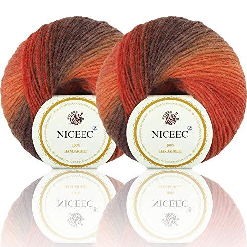 2 Skeins Rainbow Soft Yarn 100% Wool Gradient Multi Color Yarn for Crocheting Knit Total Length 180m×2(196yds×2,50g×2)-3 4 Ply Wool Yarn