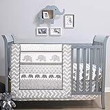 The Peanutshell Elephant Walk Crib Bedding Set | 3 Piece Nursery Set | Crib Quilt, Crib Sheet, Crib Skirt Included