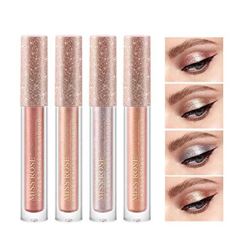 Sombras De Ojos Brillantes Líquida Con De 4 Colores Brillo Metálico Duradero Resistente Al Agua Maquillaje De Alto Pigmento Sombra De Ojos Líquida (01)