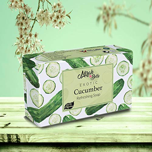 Mirah Belle - Cucumber Refreshing Soap - Skin Lightening and Brightening - Handmade, Organic and Cruelty Free - 125 gm
