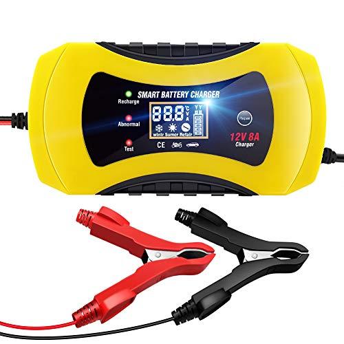 NWOUIIAY Autobatterie Ladegerät 12V 8A Batterieladegerät Auto Ladegerät Mit mehreren Schutzfunktionen Digitaler LCD-Bildschirm zum Laden von AGM Gel SLA- und Wet-Batterien