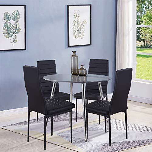 GOLDFAN Esszimmergruppe mit Grau Esstisch und 4 Schwarz Essstühlen Runder Tisch und Stuhl für Wohnzimmer Küche etc