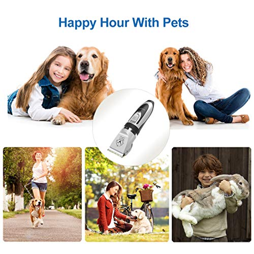 YIDON Dog Clippers, Cordless Dog Grooming Clippers Low Noise,Quiet Rechargeable Pet Hair Trimmer,Professional Dog Grooming Kit with Scissors Combs, Best Shaver for Dogs Cats Pets[Upgraded Version]