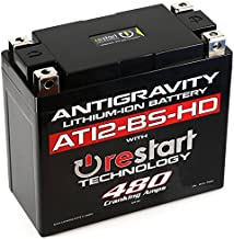 Antigravity AT12BS-HD-RS Lithium Ion Battery with BMS and Re-Start Technology - 480cca 2.95 Pounds 16Ah Lightweight Motorcycle Battery - Replaces YT12BS - YT12b-BS - YT14-BS - YT14B-BS