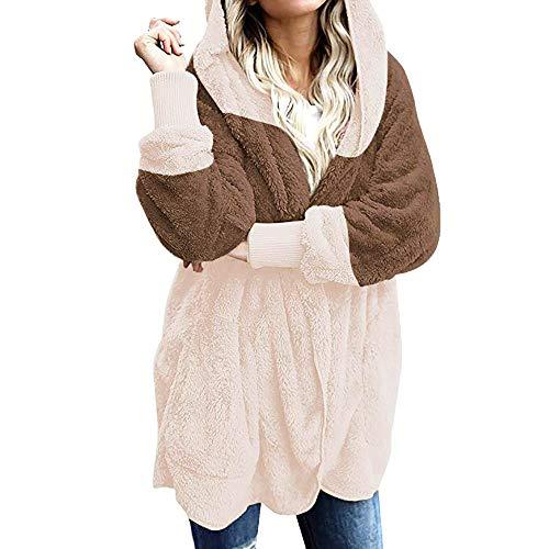 Yowablo Strickjacke Damen Cardigan Grobstrick mit Kapuze gefüttert Outwear Langarm für Herbst Winter Winterjacke (XL,1- Khaki)
