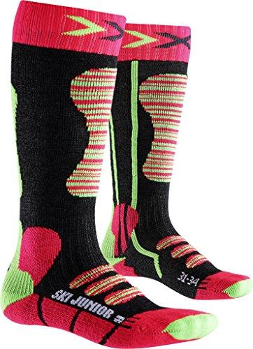 X-Socks X100097 Chaussettes de ski pour enfant - Vert (Coral/Vert) - 24-26