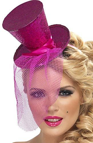Fancy Me Femmes Paillettes Rouge Rose Argent Noir Bleu Vert Violet Noël Mini Chapeau Haut de Forme avec Voile - Rose, One Size, Taille Unique