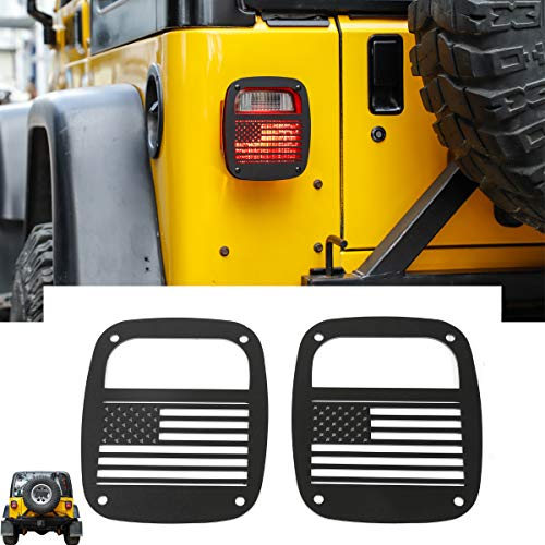 RT-TCZ Metal Tail Light Guards Covers for Rear Taillights 1987-2006 Jeep Wrangler YJ TJ Accessories (TJ-US Flag)