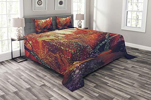ABAKUHAUS Landschaft Tagesdecke Set, Herbst-Herbst-Landschaft, Set mit Kissenbezügen Sommerdecke, für Doppelbetten 220 x 220 cm, Orange Lila