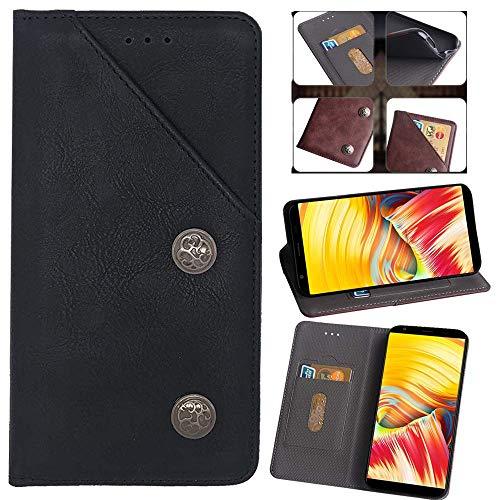 QHTTN Flip Premium Retro Echt Leder Tasche Hülle TPU Silikon Für Asus Zenfone 3 Deluxe ZS550KL ZS550ML Lederhülle Handyhülle Schutzhülle Handy Schale Etui Brieftasche Cover Hülle (Schwarz)