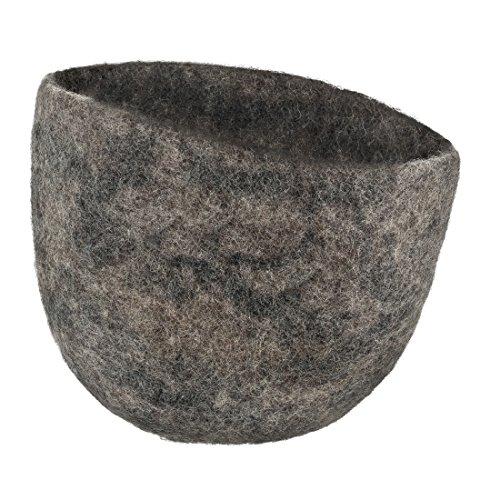 Maharanis Filz Übertopf Korb Aufbewahrung Scandic Design Filz Hut reine Wolle handgefertigt kiesel Durchmesser ca. 21 cm