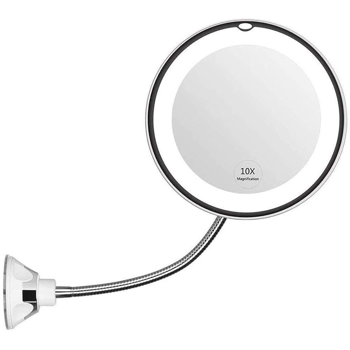 変装うめき舌なTYWZJ 8インチ調整可能なグースネック化粧鏡、柔軟な曲げ可能なバスルーム化粧鏡、強力な吸引カップ360度回転コンパクトトラベルミラー10 X拡大LED点灯