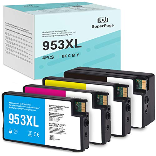 [Nuevo chip]4 Superpage Compatible con HP 953 953XL Remanufacturado Cartucho de Tinta reemplazo para HP OfficeJet Pro 8210 8218 8710 8715 8718 8719 8720 8725 8728 8730 8740 7740 wf All-in-One