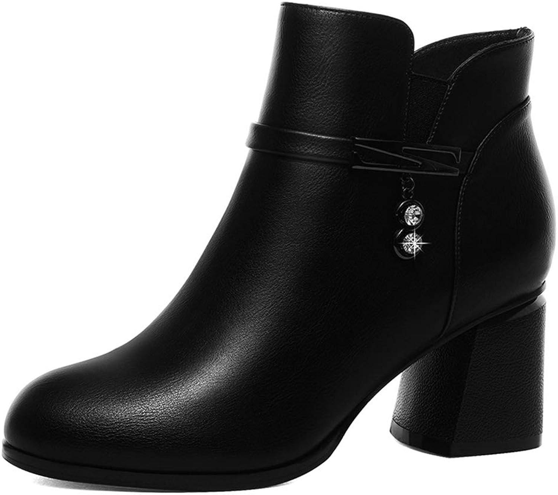 Damen Chunky Heel, Britischer Stil Stiefelies Herbst Winter Winter Plattform Martin Stiefel Dicker Absatz Plus Samt Stiefel (Farbe   EIN, Größe   37)  Qualitätsprodukt