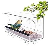 YestBuy Window Bird Feeder - Bird Feeders for Outside – Clear Bird Feeder for Window – Acrylic Bird Cage Tray – Clear Bird House Feeder – Premium Bird Feeder with Tray & Compartments + Suction Cups