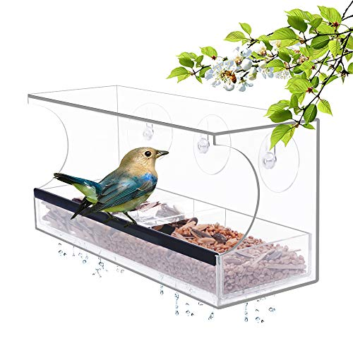 YestBuy Acrylic Window Bird Feeder for Outside Removable Seed Tray with Drainage Holes Extra Strong Suction Cups Let You Enjoy Close Interaction with Birds Staying at Home