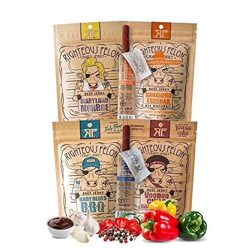 Righteous Felon Beef Jerky Bundle - Spicy Beef Jerky Sampler - Craft Beef Jerky & Meat Sticks - High-Protein, Low-Sugar Healthy Snacks - Beef Jerky (Pack of 4) & Beef Jerky Sticks (Pack of 2)