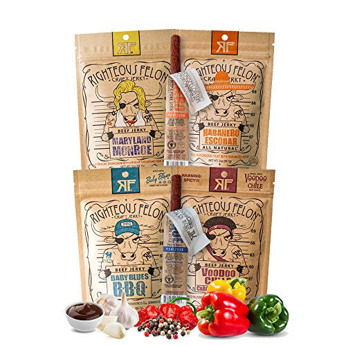 Righteous Felon Beef Spicy Jerky Bundle - Jerky and Stick...
