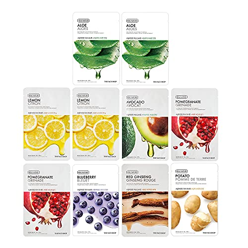 The Face Shop Real Nature Daily Glow Mask Sheet, 200 g - Combo Pack of 10
