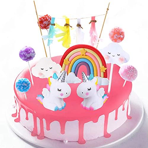 DERU Cake Topper Unicornio, Decoración De Pastel De Unicornio, Decoracion Tarta Unicornio, Unicornio Cloud Rainbow para Cumpleaños Decoración de La Torta del Banquete de Boda (11Piezas)