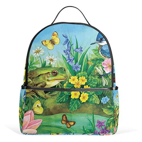 Schulrucksack mit Vögeln, Frosch, Blumen, Schmetterling, Fluss, Leinen, großes Fassungsvermögen, lässig, Reisen, Tagesrucksack für Kinder, Mädchen, Jungen, Kinder, Studenten