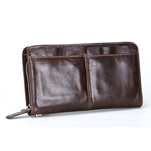Gendi Zipper Uomini Portafogli con supporto Multi Card Vera Pelle uomo frizione Portafogli funzionale Portafoglio maschile Lungo (caffè)