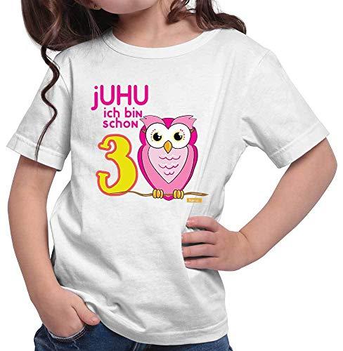 HARIZ Mädchen T-Shirt Juhu Ich Bin Schon DREI Eule 3 Geburtstag Kind Süß Plus Geschenkkarte Weiß 104/3-4 Jahre