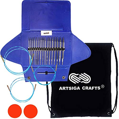 addi Knitting Needles Interchangeable Click Rocket 2 Square Standard Long Tip (5 inches) Ergonomic Lace Set Skacel Blue Cables Bundle with 1 Artsiga Crafts Project Bag