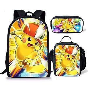51oq07BRRIL. SS300  - spArt Anime Pikachu Print Mochila escolar para niños y niñas, bolsa de hombro, lonchera, 3 piezas, Pokemon A1…