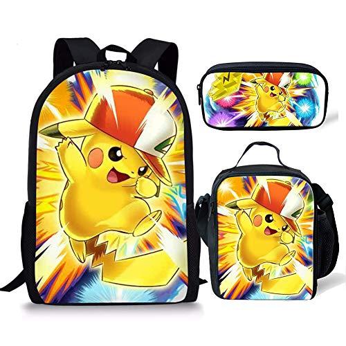 SpArt Anime Pikachu Lot de 3 sacs à dos d'école pour...