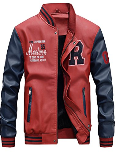 Mordenmiss Men's Basic Leather Letter Man Baseball Varsity Jacket Bomber Outwear Red L