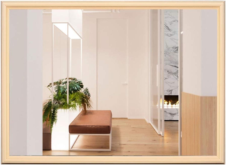 JSSFQK Bathroom Mirror Vanity Mirror Decorative Mirror Wall Hanging Mirror Retro Mirror Explosion-Proof Mirror 60  80cm Bathroom Mirror (color   Wood color, Size   60×80cm)