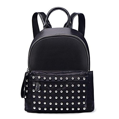 DonDon Damen Rucksack Nylon wasserabweisend mit Kugelnieten rund schwarz