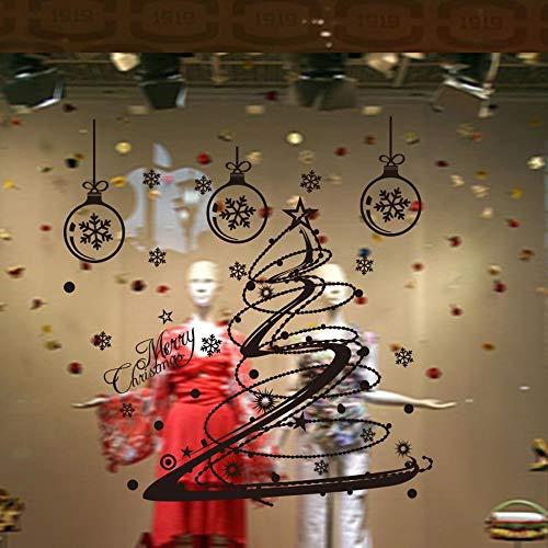 Kerstboom, sneeuwvlok, slaapkamer, raamdecoratie, zelfklevend, 43 x 50 cm, afneembaar, waterdicht, decoratie, creatief