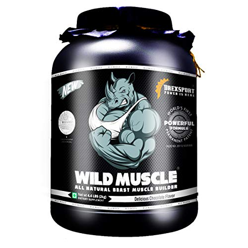DREXSPORT - Wild Muscle - All Natural Lean Mass Gainer Whey Protein Powder - Isolate + Concentrate + Creatine HCL + BCAA + Glutamine - 2Kg Chocolate