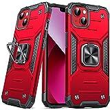 DASFOND Diseñado para iPhone 13 Funda, Funda Protectora de Grado Militar para teléfono con Soporte Mejorado [Soporte magnético] para iPhone 13 de 6,1'', Rojo