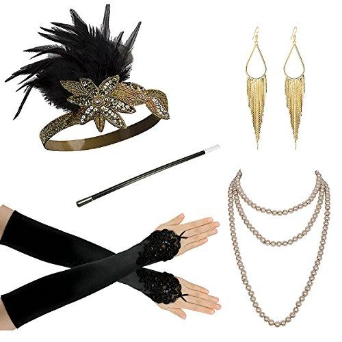 1920 Zubehör Set für Frauen Gatsby Kostümzubehör -Flapper-Stirnband Perlenkette Handschuhe Zigarettenhalter Netzstrumpfhose