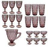 Vintage 19 Piezas Set Rey Copa De Vino Cristal Gafas Copas De Vino Copa De Helado Vaso De Agua Vaso De Trago Largo Jarra - Lila, Morado