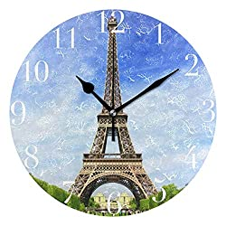 Dozili Eiffel Tower Scenery Round Wall Clock Arabic Numerals Design Non Ticking Wall Clock Large for Bedrooms,Living Room,Bathroom