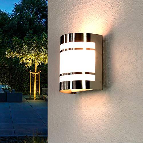 Außenwandlampe Edelstahl IP44 Haus Modern E27 praktisch OSLO Haustür Terrasse Beleuchtung