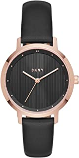 Women's The Modernist Stainless Steel Analog-Quartz Watch with Leather Calfskin Strap, Black, 14 (Model: NY2641)
