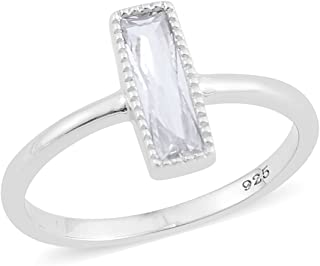 925 Sterling Silver Baguette White Cubic Zirconia CZ Engagement Statement Ring for Women Jewelry Cttw 0.4