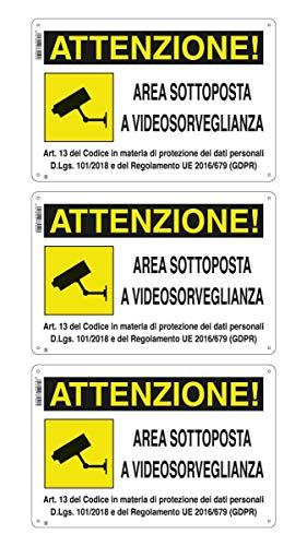 """CARTELLO AREA SOTTOPOSTA A VIDEOSORVEGLIANZA 18 X 12 cm GDPR"""" IN PVC (3)"""