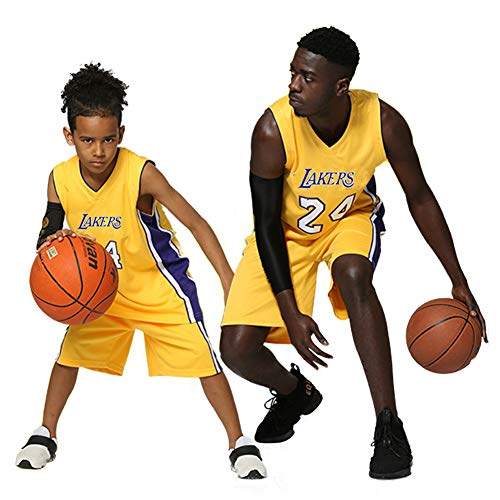 Kinder Jungen Mädchen Männer Erwachsene NBA Kobe Bean Bryant #24 LA Lakers Retro Basketball Trikots Sommer Anzüge Kits Top + Shorts 1 Set (lila, XS (Kinder))