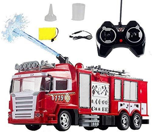 Sports Outdoors Water Spray Creative Remote Control Fire Truck Model with Light and Sound Rechargeable Large RC Toy Car High Simulation Puzzle Remote Control Vehicle Boy Best Gift (Size : 2 battery