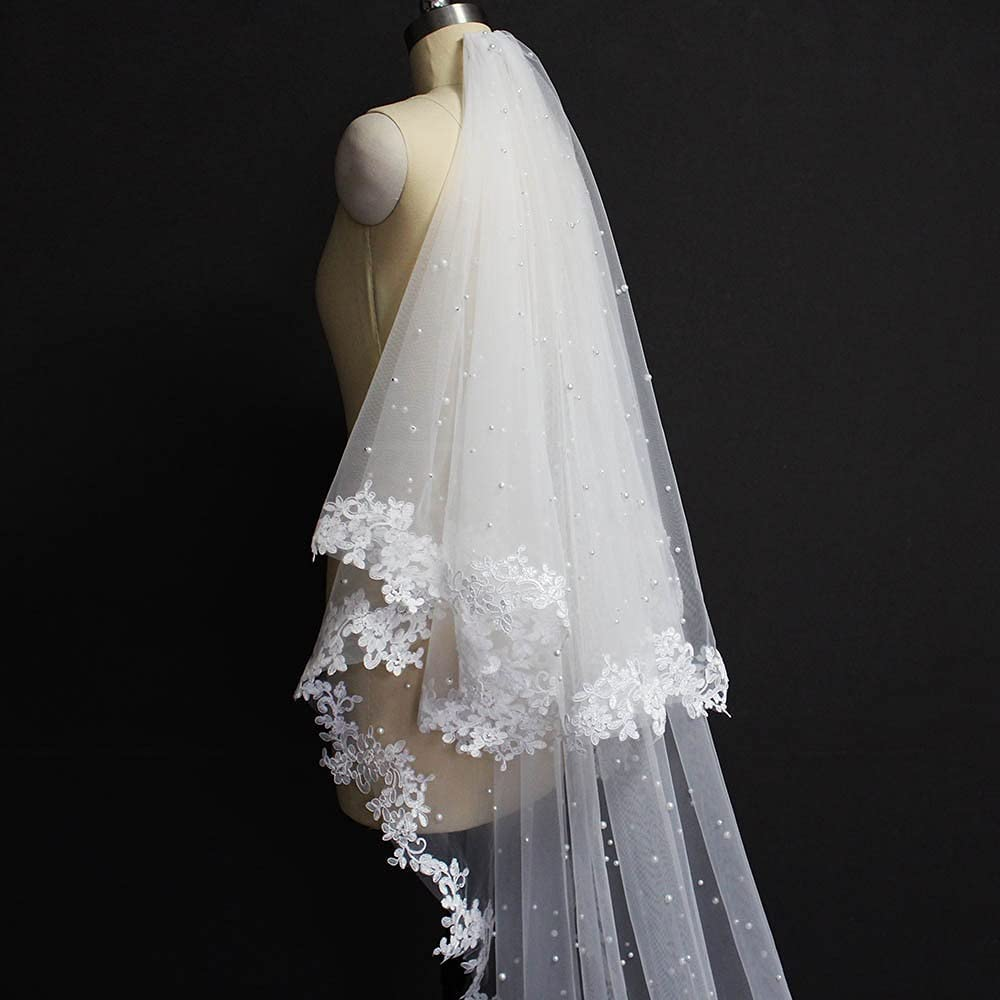 Pearls Max Milwaukee Mall 90% OFF Wedding Veil with Lace Layers 2 Face Cover Bridal