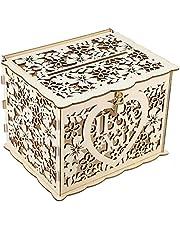 Caja de madera para tarjetas de boda Caja de dinero para bodas rústica Caja de tarjetas de regalo con candado y letrero de tarjeta para recepción de boda, aniversario, 9,8 x 7,9 x 7,2 pulgadas